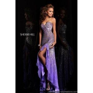 Sherri Hill Sz 4 High Low Sequin Formal Prom Dress